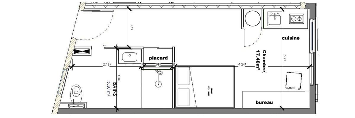 T2 Léonard de Vinci 22,70 m2